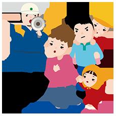 避難訓練をする家族